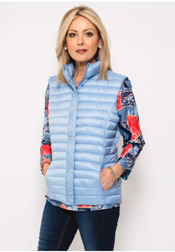 Leon Collection Ribbon Trim Quilted Gilet, Powder Blue