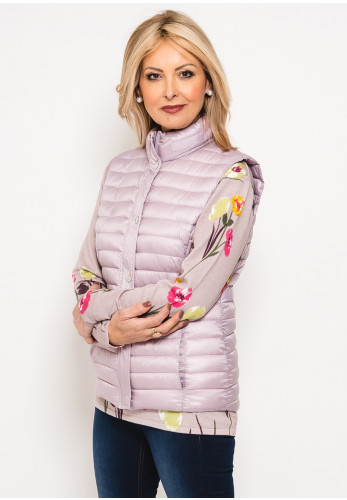 Leon Collection Ribbon Trim Quilted Gilet, Pink