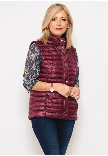 Leon Collection Ribbon Trim Quilted Gilet, Wine
