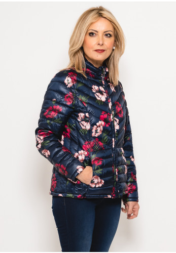 Zenith Collection Floral Quilted Jacket, Navy