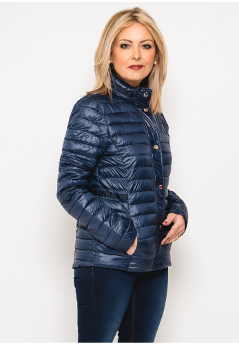 Leon Collection Ribbon Trim Quilted Jacket, Navy