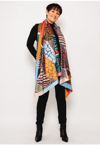 Leon Collection Printed Faux Silk Scarf, Multi-Coloured