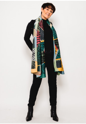 Leon Collection Printed Faux Silk Scarf, Green Multi