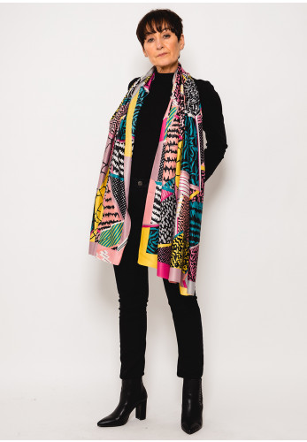 Leon Collection Printed Faux Silk Scarf, Pink Multi