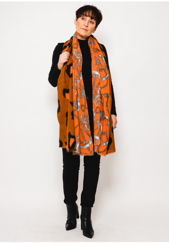 Leon Collection Animal & Chain Print Scarf, Orange