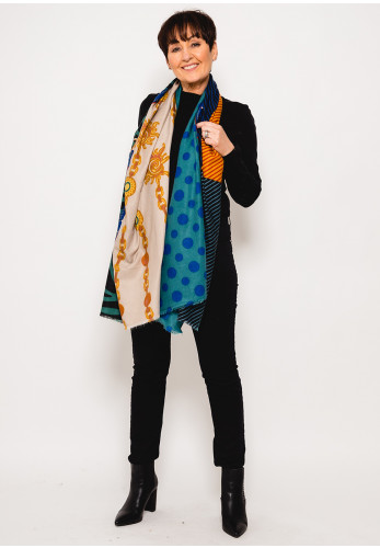 Leon Collection Zebra & Polka Dot Scarf, Green Multi