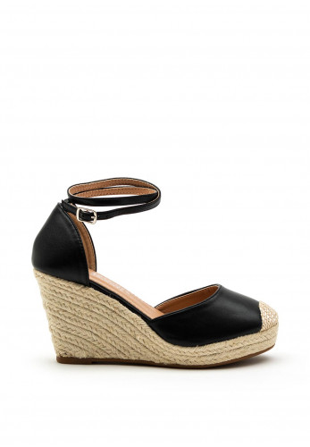 Zen Collection Faux Leather Closed Toe High Wedge, Black