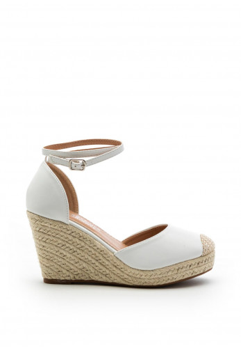 Zen Collection Faux Leather Closed Toe High Wedge, White
