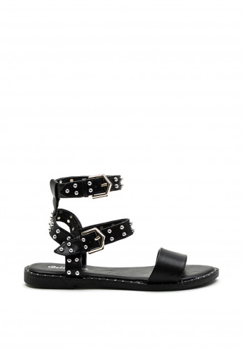 Zen Collection Faux Leather Studded Double Ankle Strap Sandal, Black