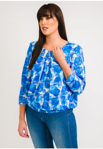 Leon Collection Abstract Petal Top, Blue & White