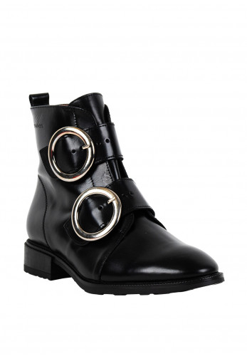 Wonders Leather Buckle Strap Boots, Black