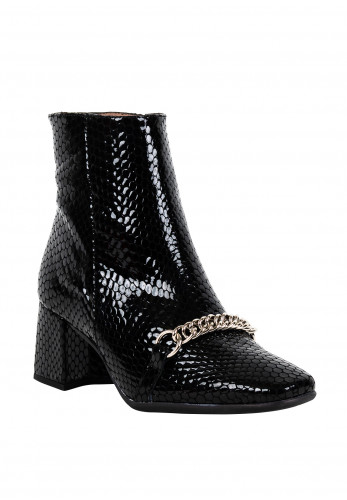 Wonders Leather Square Toe Croc Effect Ankle Boots, Black