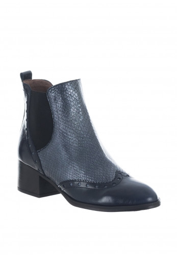 Wonders Leather Reptile Brogue Chelsea Boots, Navy