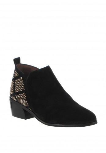 Wonders Suede Stud Low Rise Ankle Boots, Black