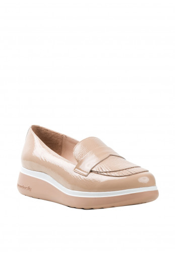 Wonders Fly Patent Leather Layered Fringes Loafers, Nude