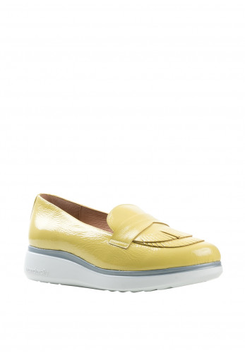 Wonders Fly Patent Leather Layered Fringes Loafers, Yellow