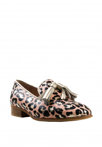 Wonders Leopard Print Leather Loafers, Gold