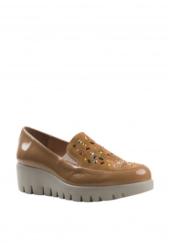 Wonders Fly Patent Leather Multi Gem Loafers, Sand