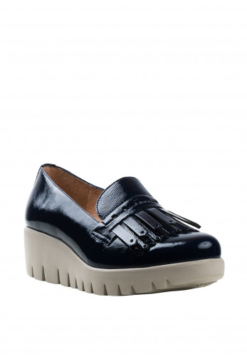 Wonders Fly Patent Leather Fringed Loafers, Navy