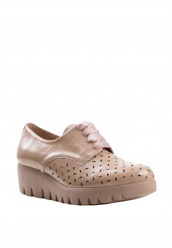 Wonders Fly Patent Leather Laser Cut with Ribbon Laces Loafers, Nude