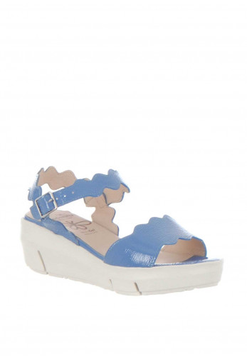 Wonders Scallop Edge Platform Sandals, Blue