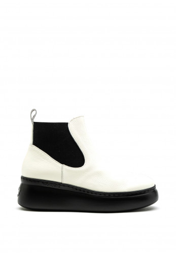 Wonders Leather Platform Sole Chelsea Boot, White