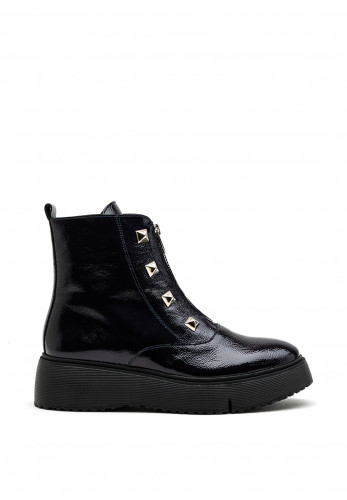 Wonders Patent Leather Studded Ankle Boot, Navy