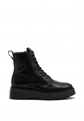 Wonders Soft Leather Lace Up Boot, Black