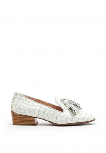 Wonders Patent Croc Fringed Loafers, White