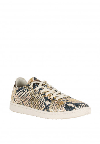 Woden Womens Jane Snake Trainers, Gold Multi