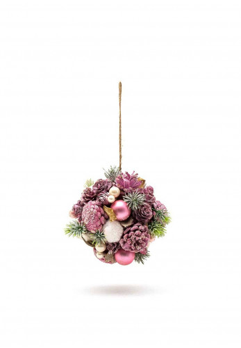 Verano Hanging Ball with Pine Cones, Pine and Baubles, Pink