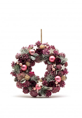 Verano Pine Cone, Rose, Stars and Bauble Wreath, Pink