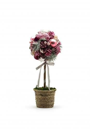 Verano Topiary Tree with Pine Cones, Pine and Baubles, Pink