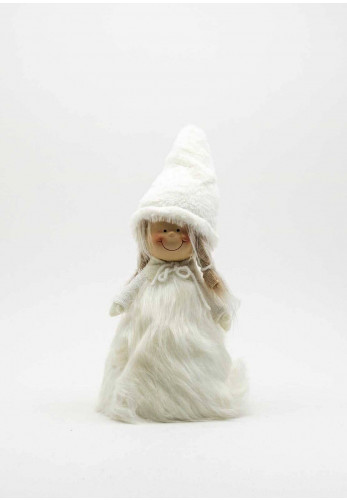 Verano Small Angel with Furry Hat and Pigtails, White