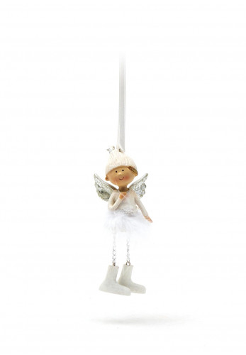 Verano Angel with Feather Skirt Hanging Decoration, White