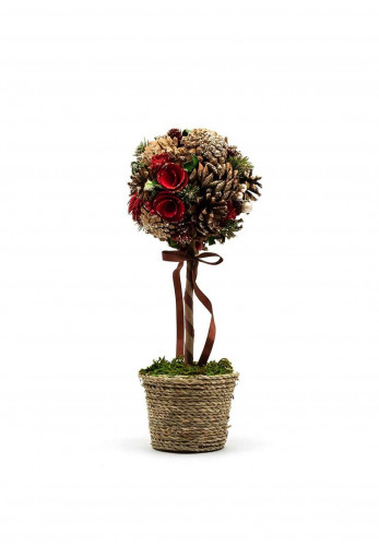 Verano Topiary Tree with Pine Cones, Pine, Leaves and Berries, Red