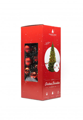 Seasons 2 in 1 Baubles and Lights Decorations, Granberry Red