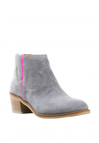 Alpe Suede Western Zip Back Ankle Boots, Grey