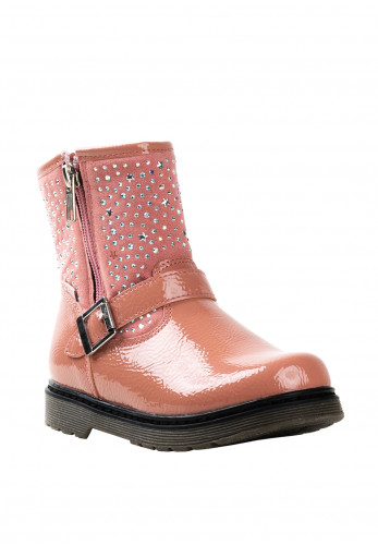 Xti Girls Patent Gem Embellished Boots, Pink