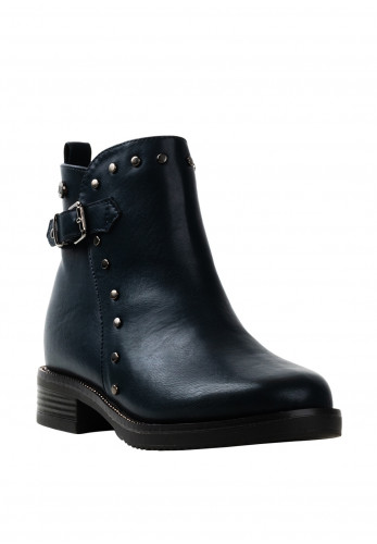 Xti Girls Stud Trim Buckle Ankle Boots, Navy