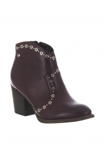 Xti Womens Floral Stud Western Boots, Wine
