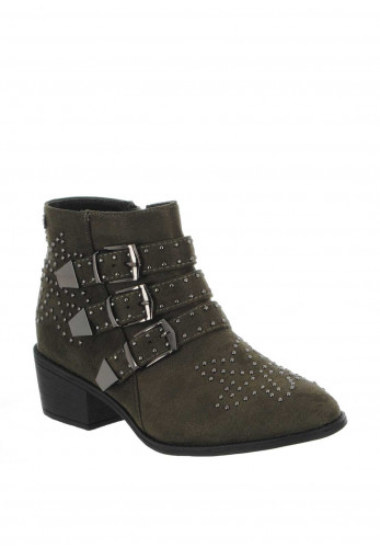 Xti Womens Studded Buckle Ankle Boots, Khaki