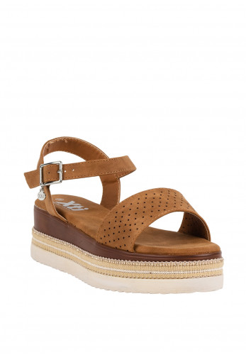 Xti Raffia Trim Platform Sandals, Tan