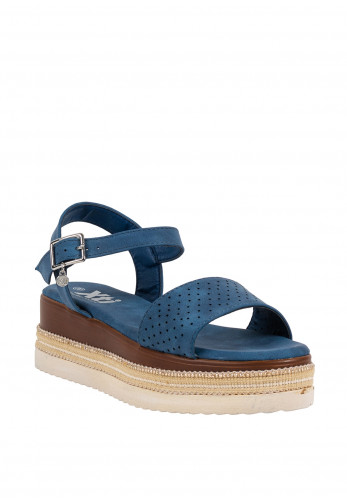 Xti Raffia Trim Platform Sandals, Blue