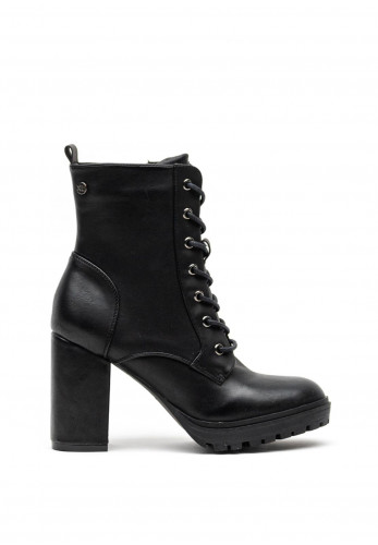 Xti Faux Patent Leather Platform Lace Up Chucky High Heel Boots, Black