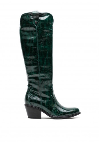 Xti Faux Croc Patent Knee High Boots, Green