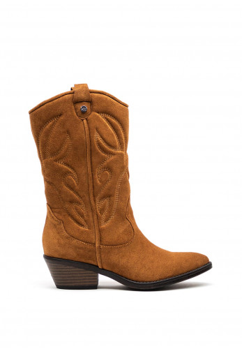 Xti Faux Suede Western Style Boots, Camel
