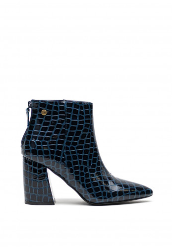 Xti Faux Leather Croc Glossy Chucky Block High Heel Ankle Boots, Navy