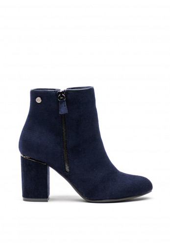 Xti Faux Suede Chucky Block Heel Boots, Navy