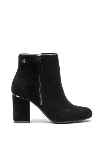 Xti Faux Suede Chucky Block Heel Boots, Black